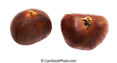 Fresh two chestnut on white background