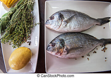 Fresh uncooked dorado with lemon, herbs, oil and spices...