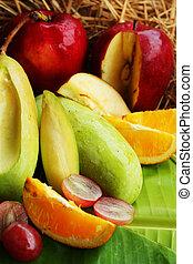 fresh various fruits.