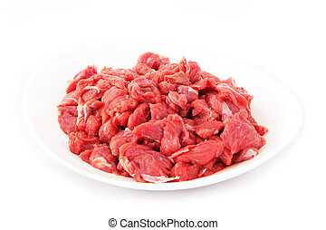 Fresh Veal - Pieces of Raw Veal Meat Isolated on White...