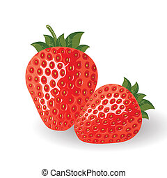 Fresh vector strawberries - Vector illustration of red...