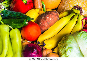 Fresh vegetable and fruit background