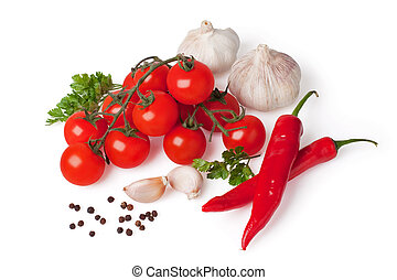 Fresh vegetable (bunch of fresh cherry tomato, garlic, capsicum, pepper, dill)