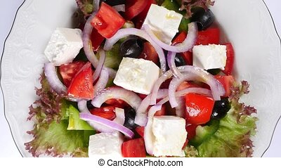 fresh vegetable greek salad (seamless loopable)