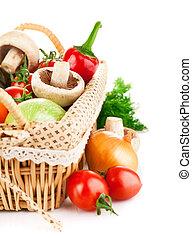 fresh vegetable in basket with green leaf