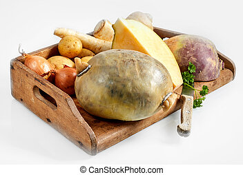 Fresh vegetable ingredients for a haggis recipe