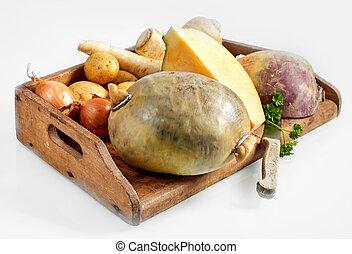 Fresh vegetable ingredients for a haggis recipe