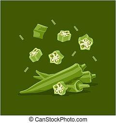 Fresh vegetable Ladies finger or Okra falling vector in green background