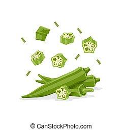 Fresh vegetable Ladies finger or Okra falling vector in white background