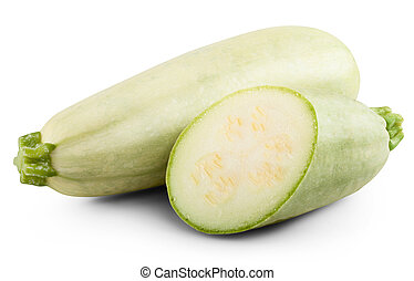 Fresh vegetable marrow isolated on white background. Clipping Path