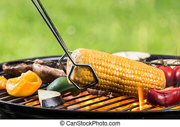 Fresh vegetable on grill