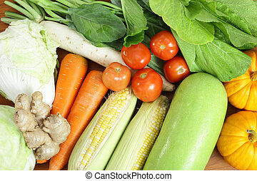 fresh vegetable prepare for do food on the wood