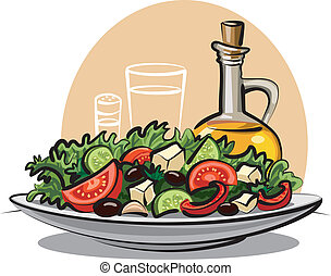fresh vegetable salad and olive oil