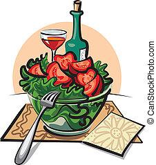 fresh vegetable salad and wine