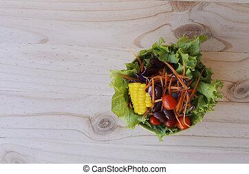 Fresh vegetable salad for food backgrounds above