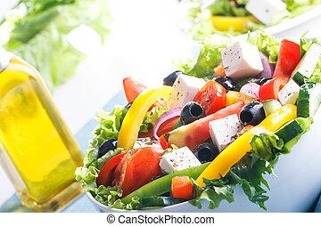 Fresh Vegetable salad (greek salad). Useful vitamin food.