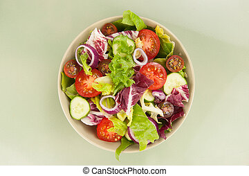 Fresh vegetable salad in a bowl