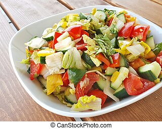 Fresh vegetable salad in a bowl.