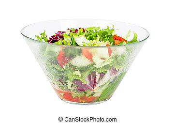 Fresh vegetable salad in bowl isolated on white
