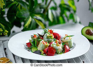 fresh vegetable salad in the plate
