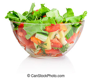 Fresh vegetable salad in transparent bowl isolated on white