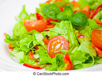 fresh vegetable salad on plate