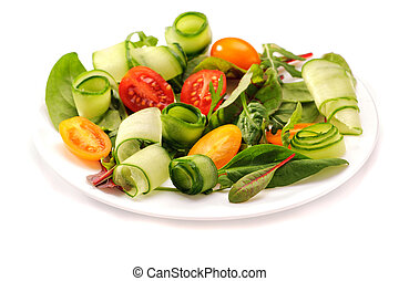 Fresh vegetable salad on white background, isolated