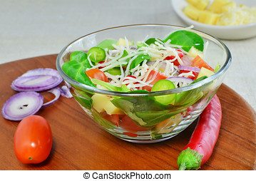 Fresh vegetable salad with cheese and ingredients