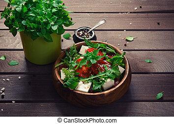 Fresh vegetable salad with Feta