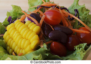 Fresh vegetable salad with macro close up for food backgrounds