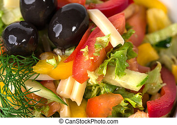 Fresh vegetable salad with olives.