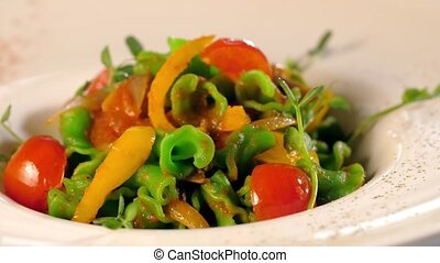 Fresh vegetable salad with tomatoes - Fresh green salad on a...