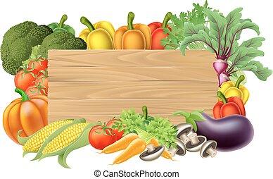 Fresh Vegetable Sign - A wooden vegetables sign background...