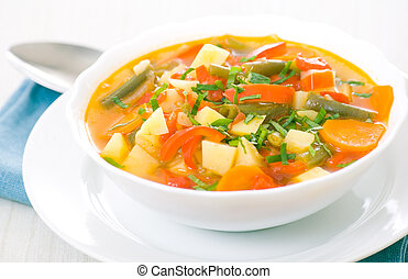 Fresh vegetable soup made of green bean, carrot, potato