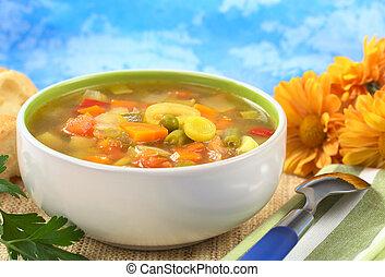 Fresh vegetable soup made of green bean, pea, carrot, potato...