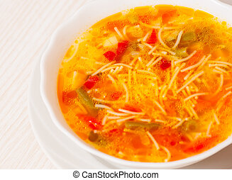 Fresh vegetable soup with noodles