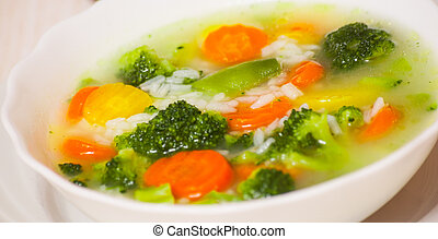 Fresh vegetable soup with rice