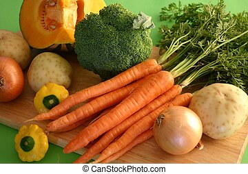 A selection of fresh vegetables ready to prepare a meal