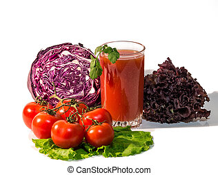 Fresh vegetables and a glass of juice
