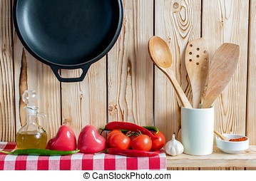 Fresh Vegetables And Cooking Utensils On Wooden Shelf