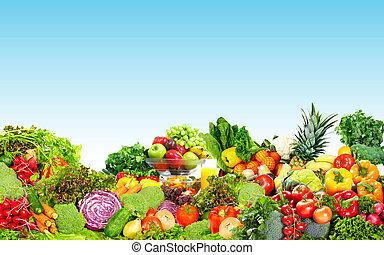 Fresh vegetables and fruits. - Fresh organic vegetables over...
