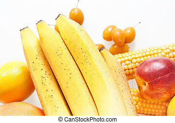 fresh vegetables and fruits isolated on white background