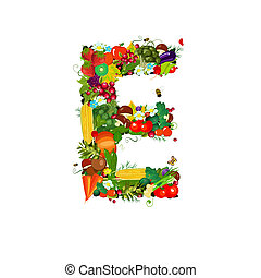 Fresh vegetables and fruits letter E
