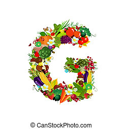 Fresh vegetables and fruits letter G