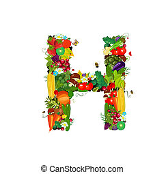 Fresh vegetables and fruits letter H