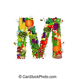 Fresh vegetables and fruits letter M