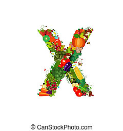 Fresh vegetables and fruits letter X