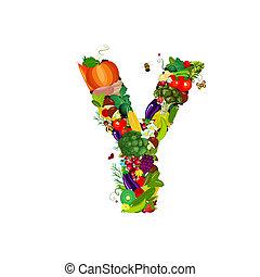 Fresh vegetables and fruits letter Y