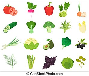 Fresh Vegetables and Herbs color flat icons.
