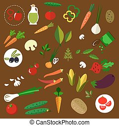 Fresh vegetables icons set with tomatoes, carrots, onions, cucumbers, mushrooms, potatoes, corn, chili and bell peppers, olives, eggplant, beet, green pea, garlic, herbs and olive oil